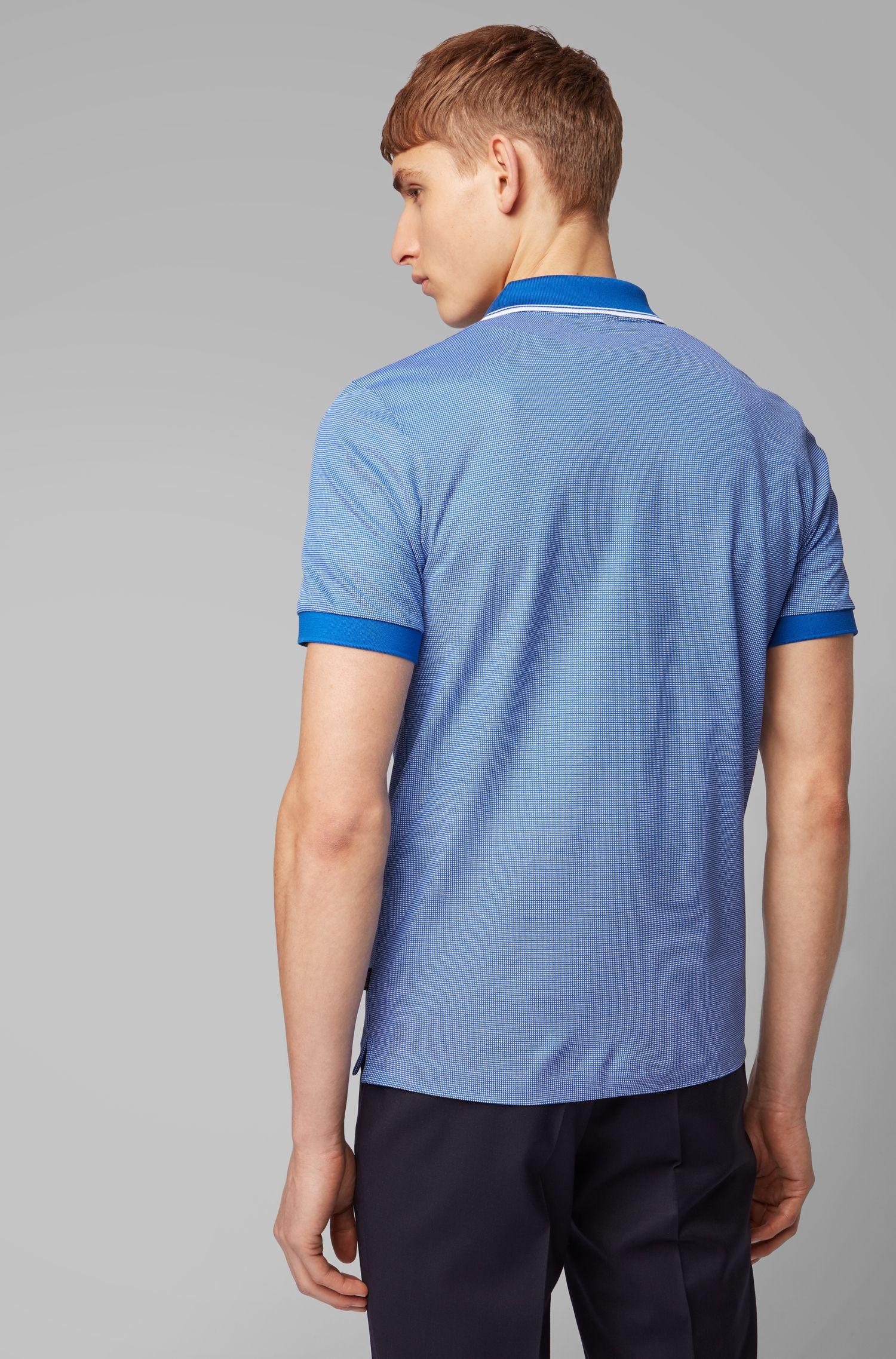 Polo slim fit con guarnizioni bicolore, Blu