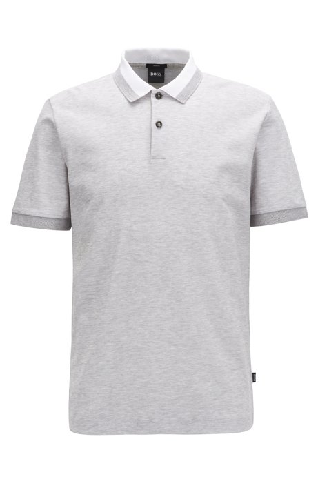 Polo Slim Fit en coton nid d'abeille bicolore, Gris