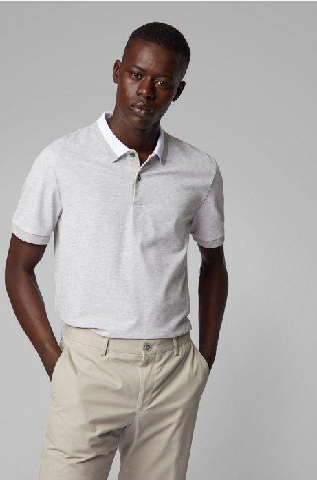 Poloshirt aus Baumwolle mit zweifarbiger Wabenstruktur, Grau