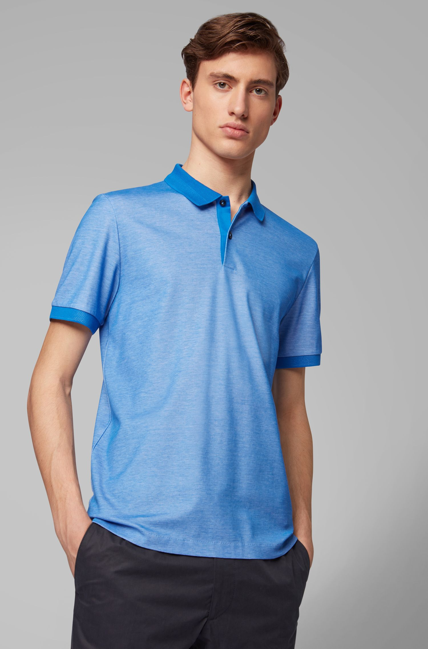 Poloshirt aus Baumwolle mit zweifarbiger Wabenstruktur, Blau
