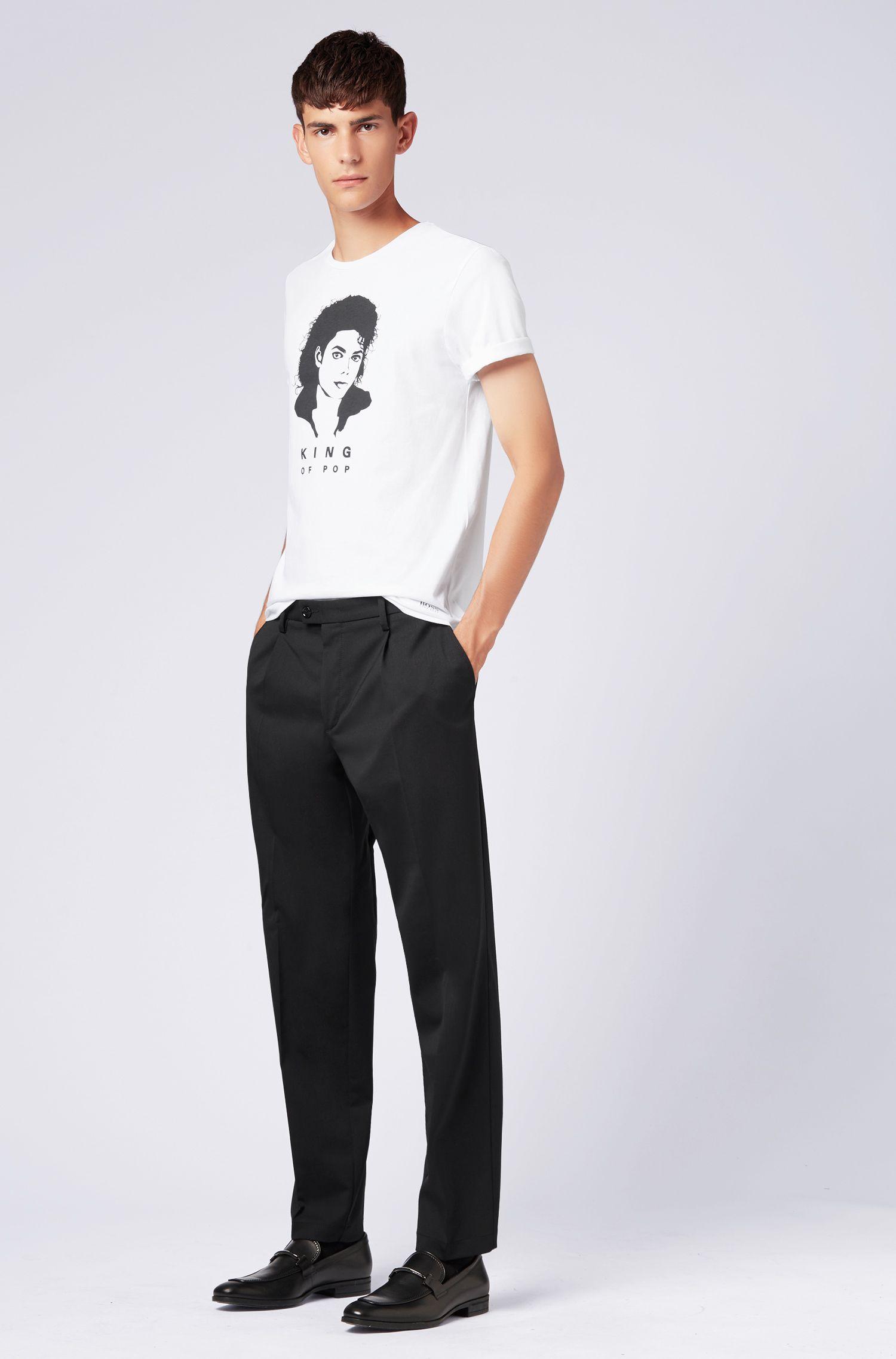 Unisex T-Shirt aus Baumwolle mit ikonischem Michael-Jackson-Print, Weiß