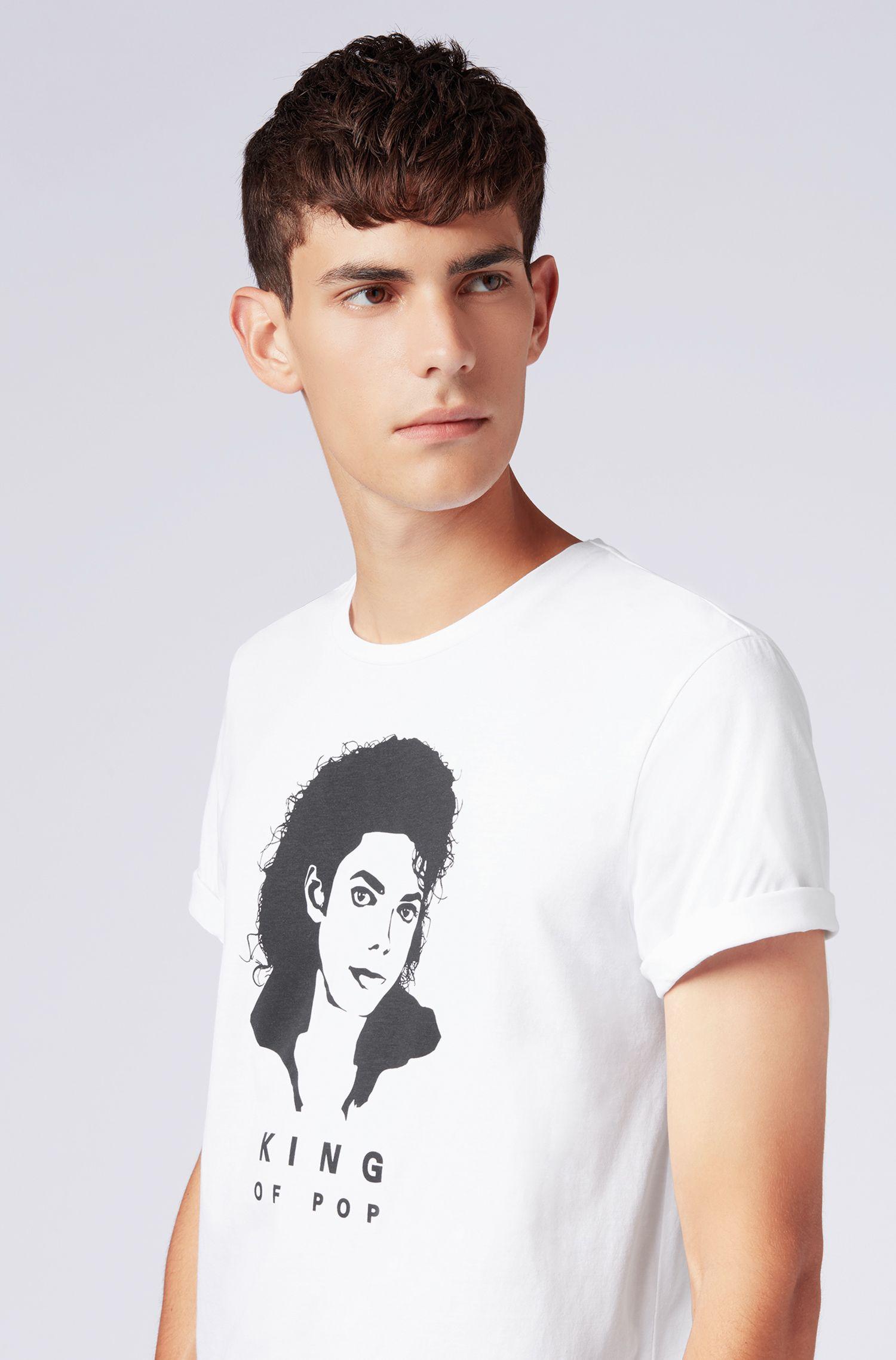 T-shirt mixte en coton avec l'emblématique imprimé Michael Jackson, Blanc