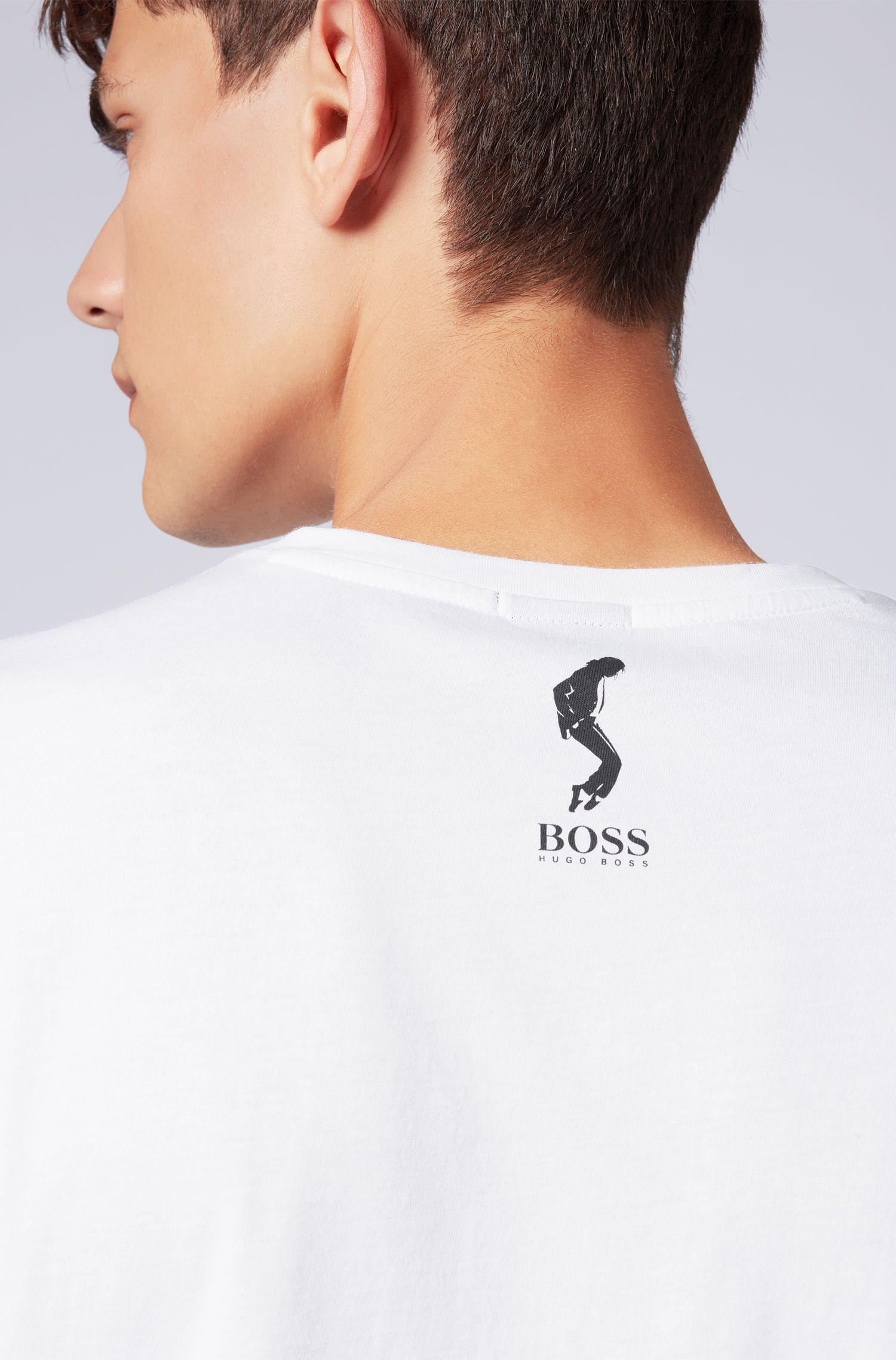 T-shirt unisex in cotone con l'iconica stampa di Michael Jackson, Bianco