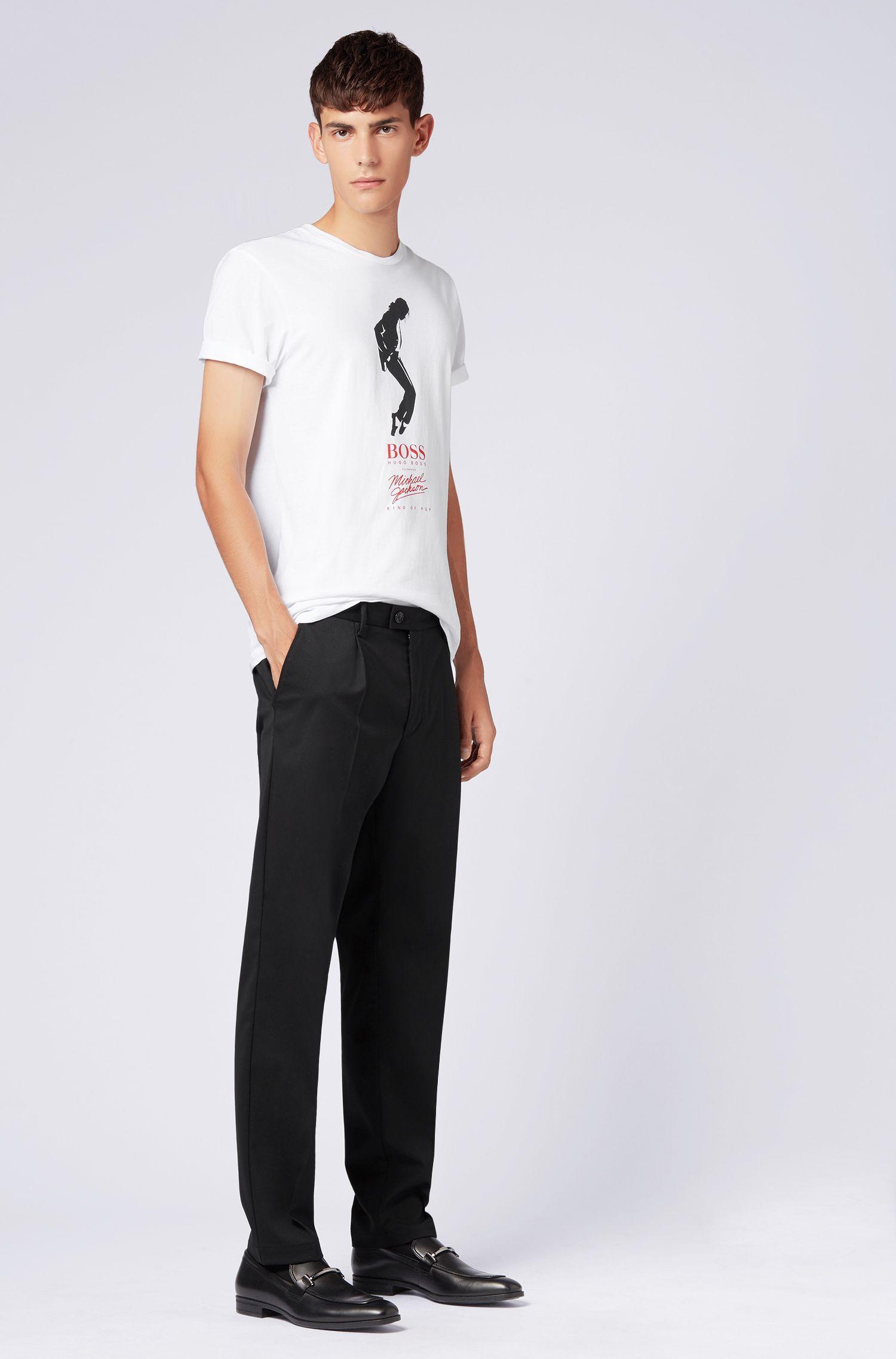 Uniseks T-shirt van katoen met print met Michael Jackson-danspose, Wit