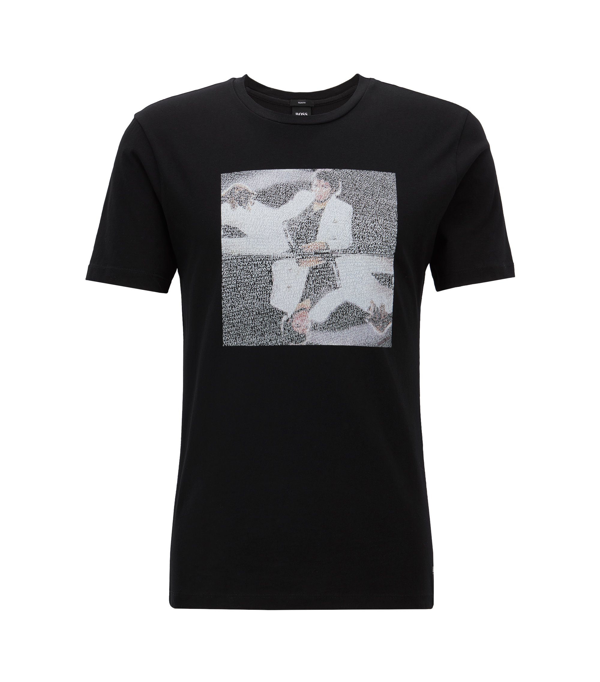 Unisex cotton T-shirt with Michael Jackson art print, Black