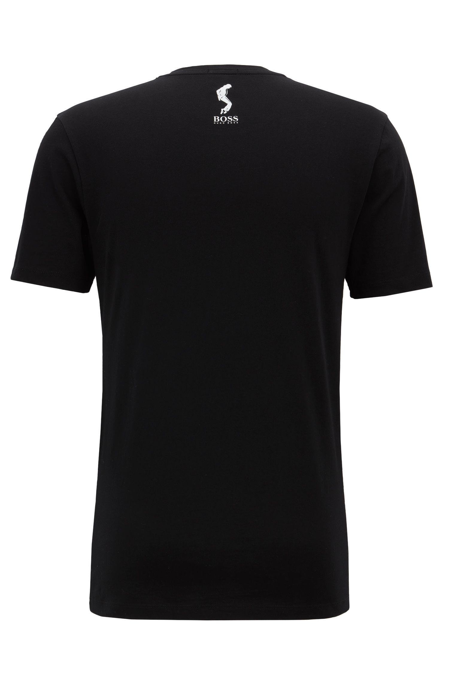 Unisex T-Shirt aus Baumwolle mit Michael-Jackson-Kunstmotiv, Schwarz