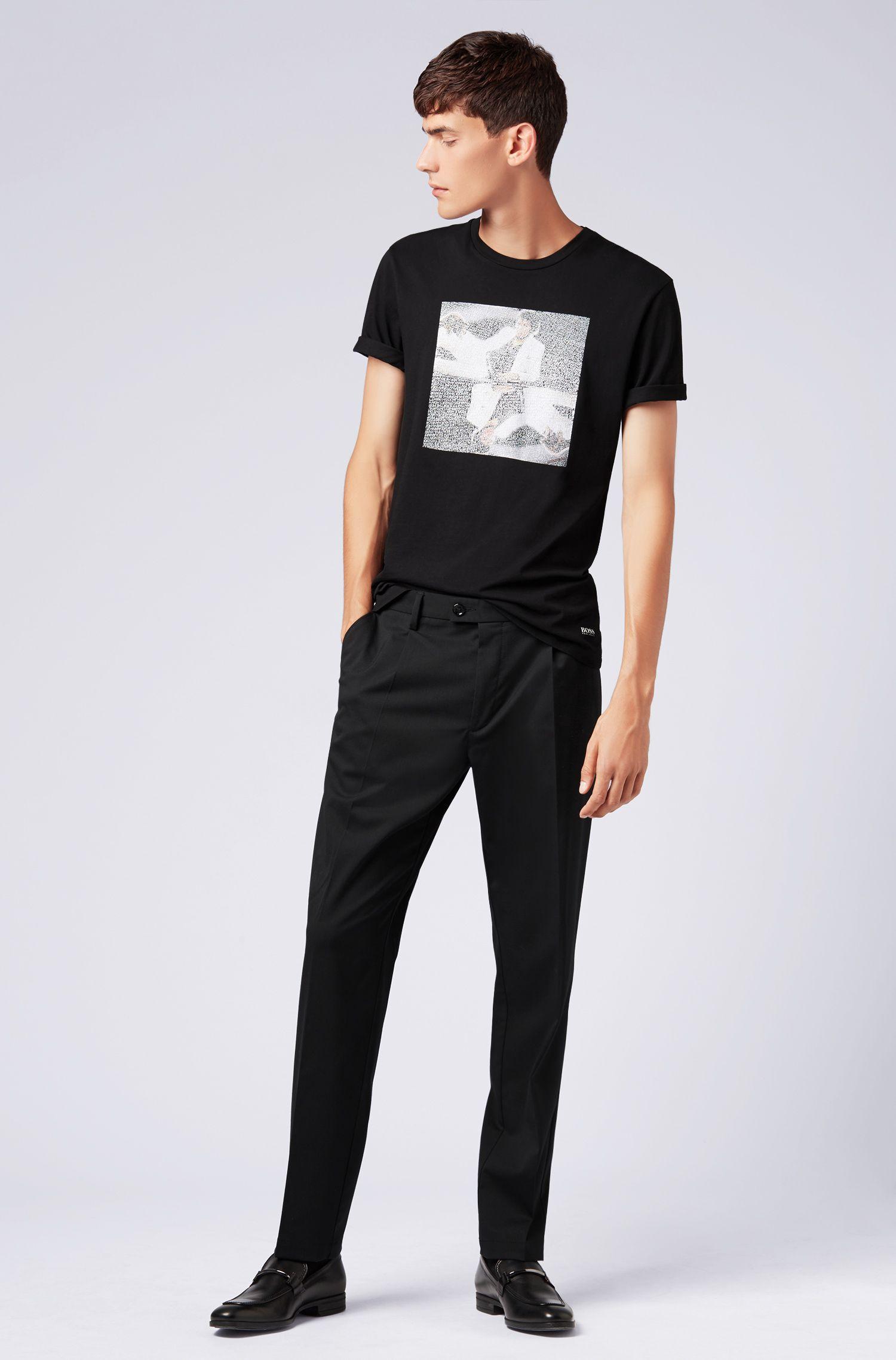 Unisex cotton T-shirt with Michael Jackson art print, Black