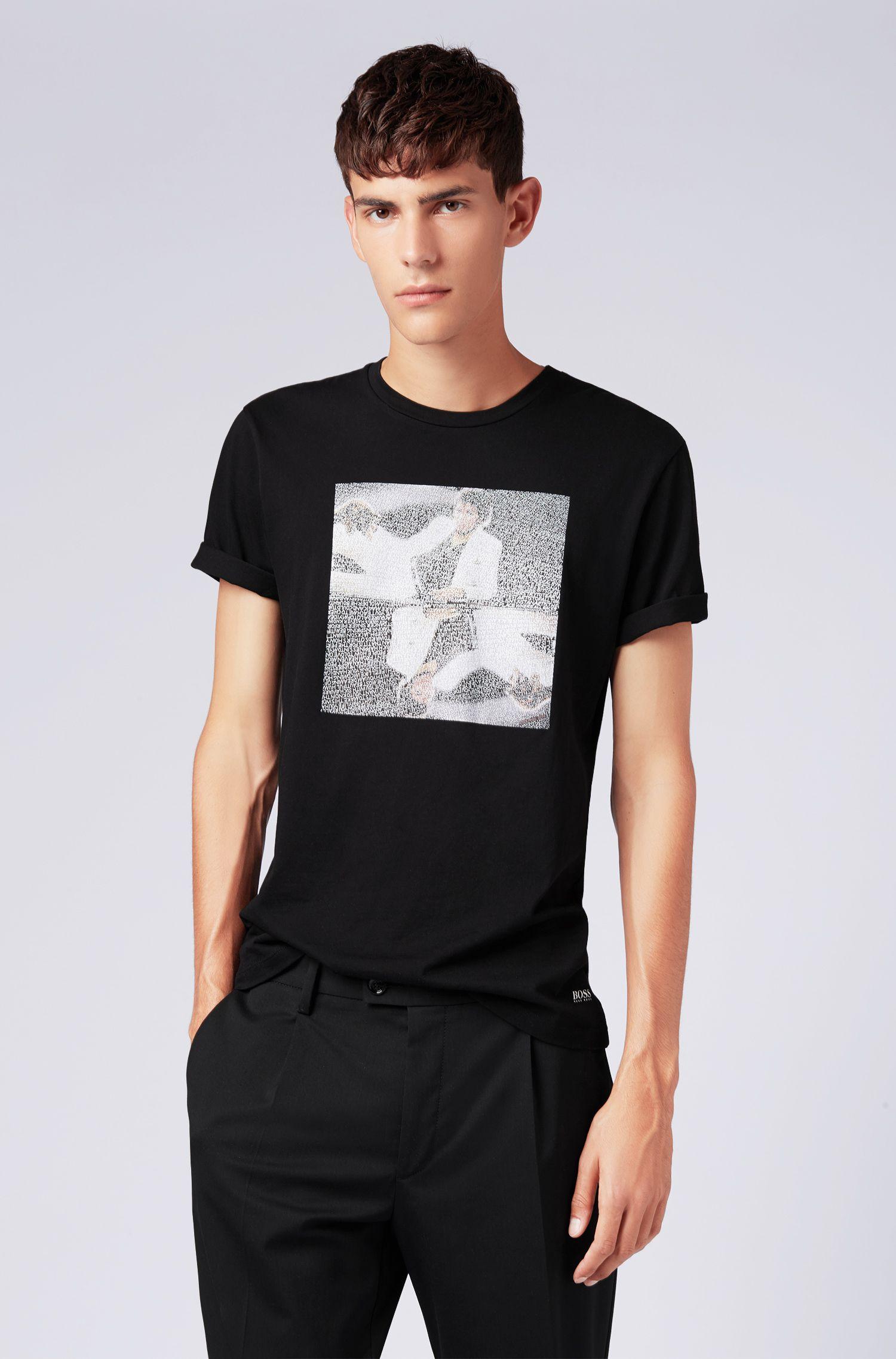 T-shirt mixte en coton avec imprimé artistique Michael Jackson, Noir