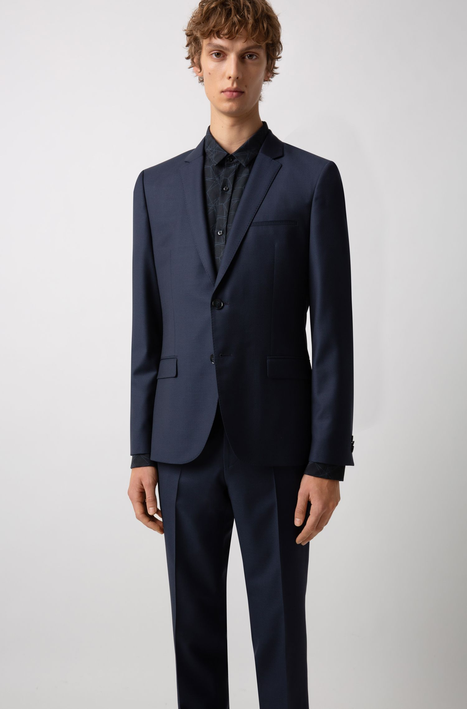 Extra-slim-fit wool-blend suit with micro pattern, Dark Blue