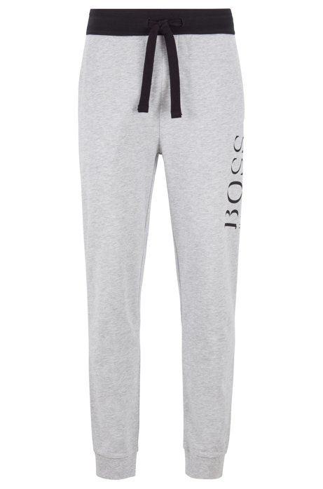 Loungewear trousers in French terry with contrast waistband, Grey