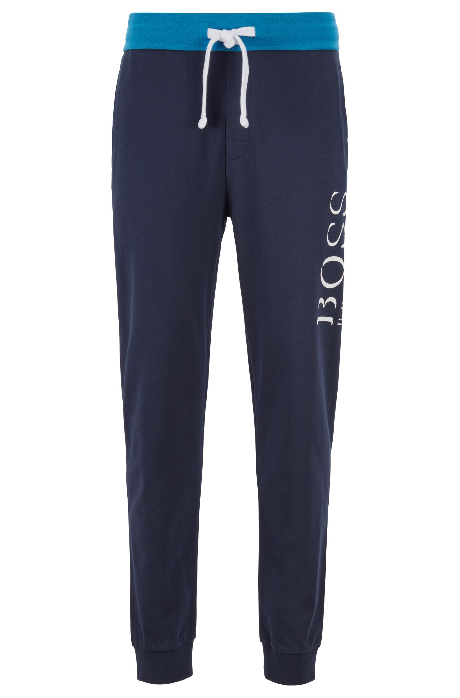 Loungewear trousers in French terry with contrast waistband, Dark Blue