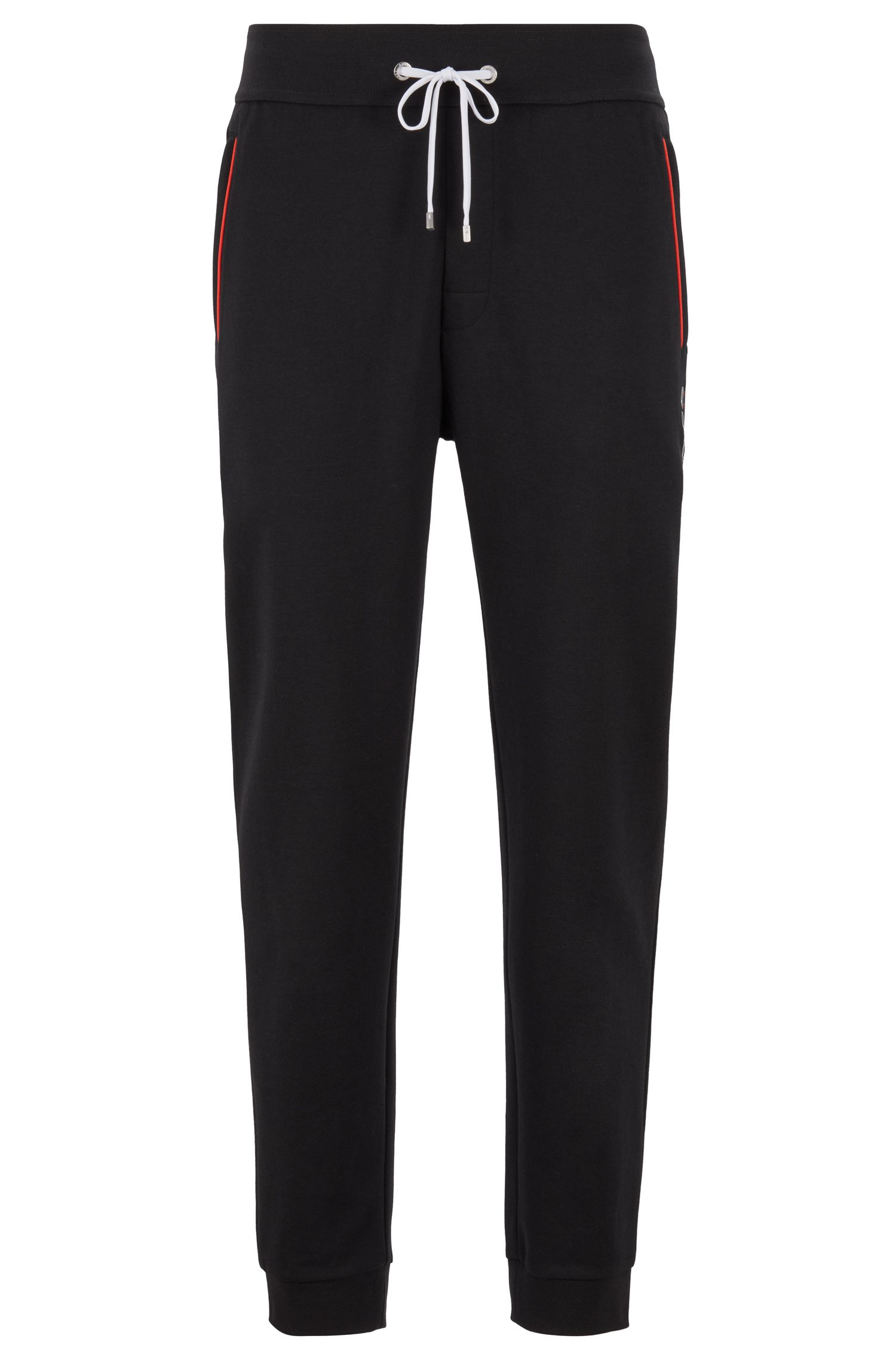 Pantalones loungewear con puños en los bajos en piqué de mezcla de algodón , Negro
