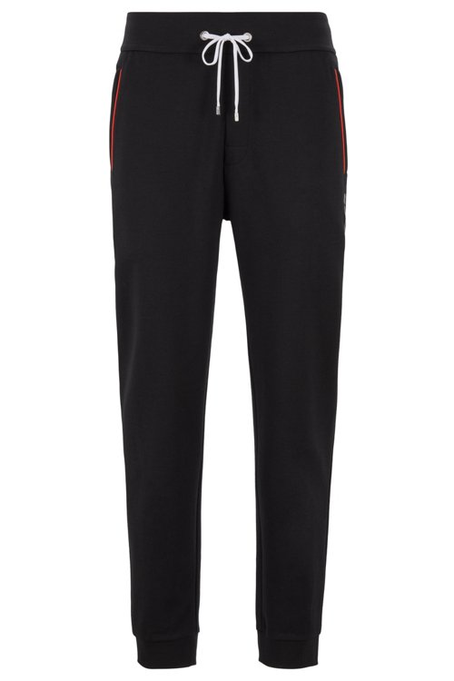 Hugo Boss - Loungewear trousers with cuffed hem in cotton-blend piqué - 1