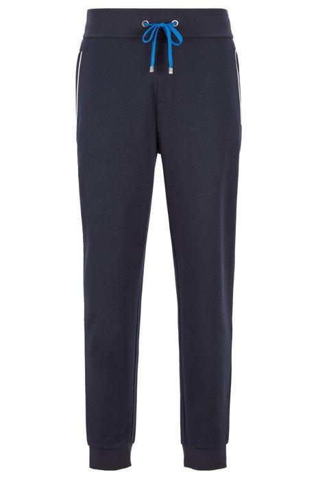 Pantaloni per l'abbigliamento da casa in piqué di misto cotone con fondo gamba elastico , Blu scuro