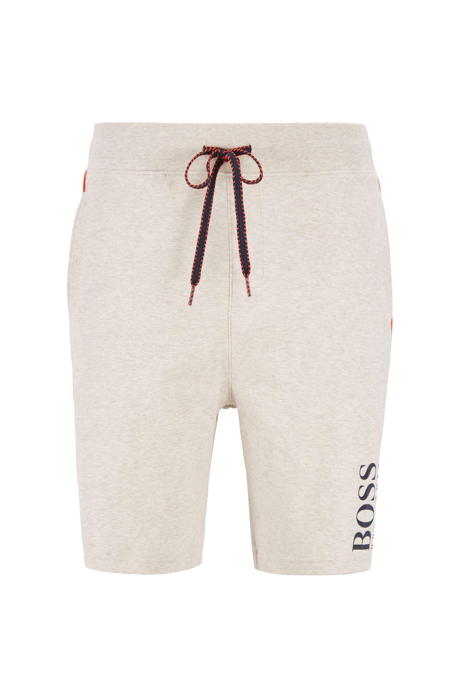 Loungewear-Shorts mit doppelt strukturiertem Logo-Print, Hellgrau