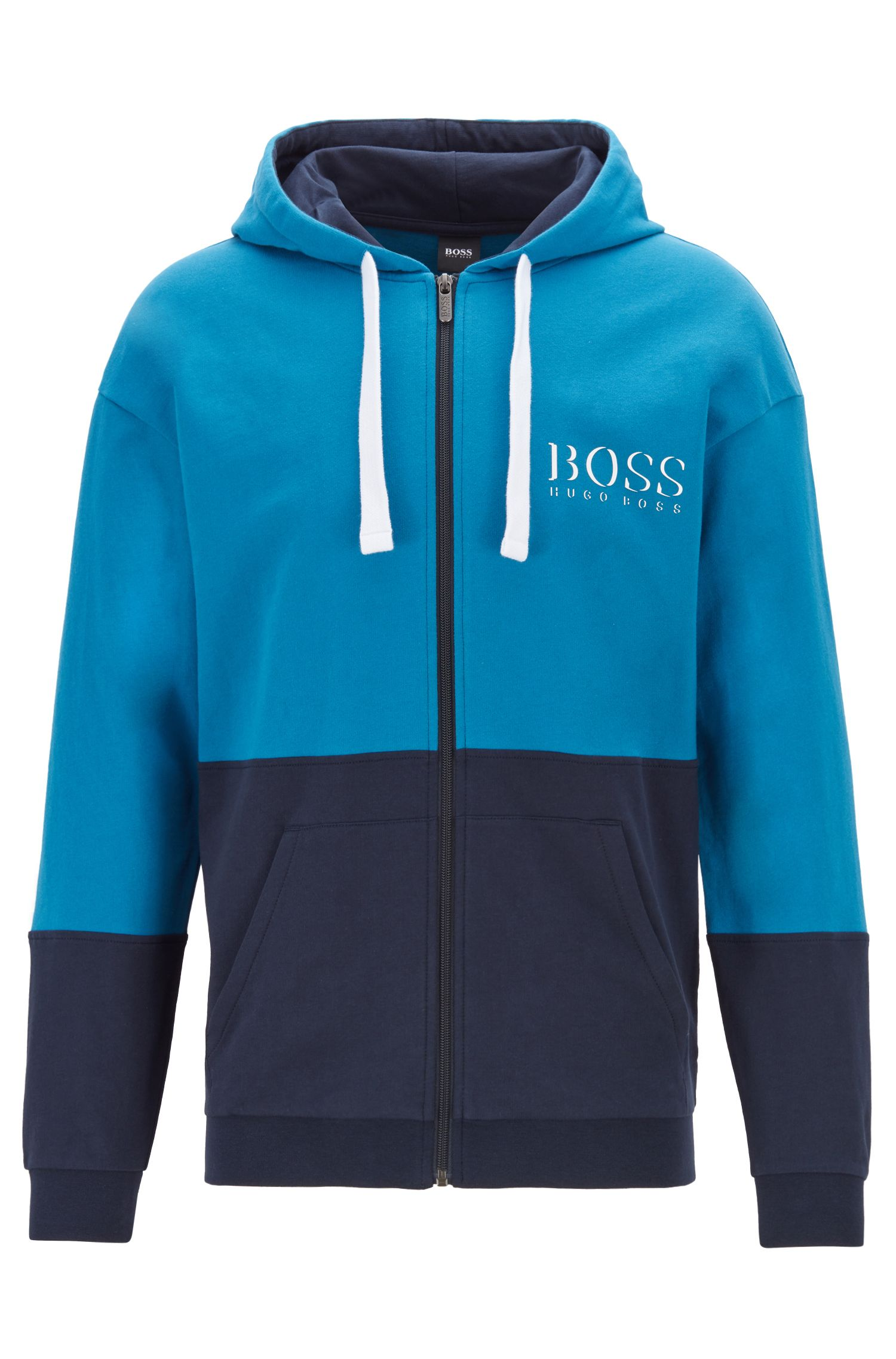Hooded loungewear jacket with shadow-print logo, Turquoise