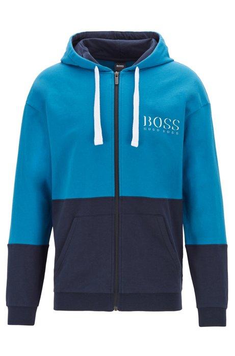 Veste d'intérieur à capuche avec logo imprimé à effet ombré, Turquoise