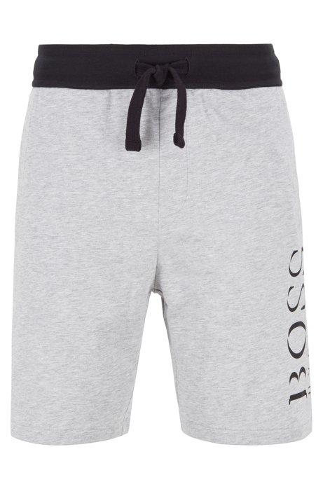 Loungewearshort van sweatstof met contrasterende tailleband , Grijs