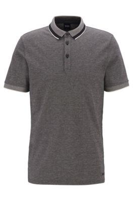Polo en coton stretch à col effet maille, Noir