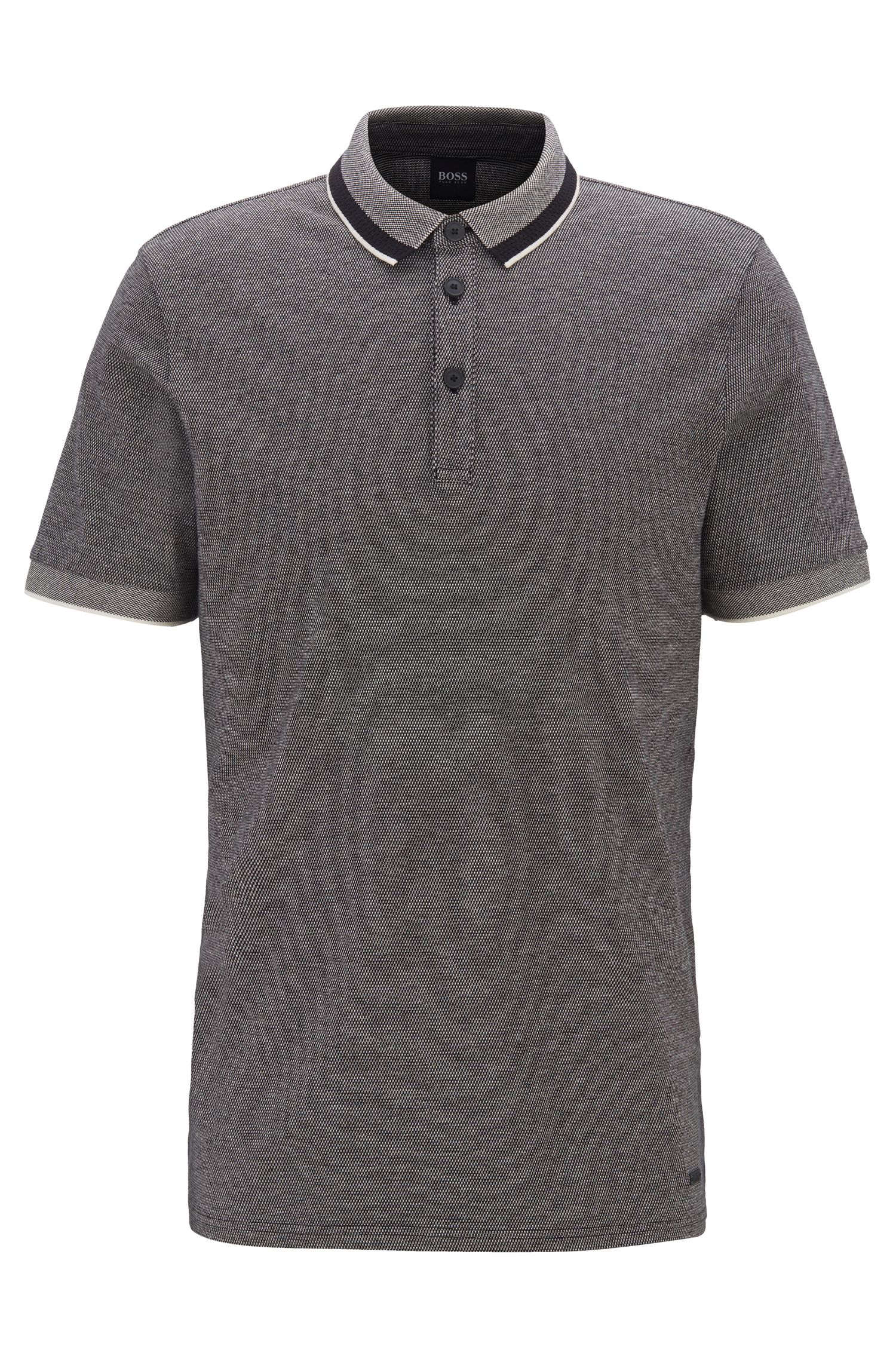 Polo shirt in stretch cotton with mesh-effect collar, Black