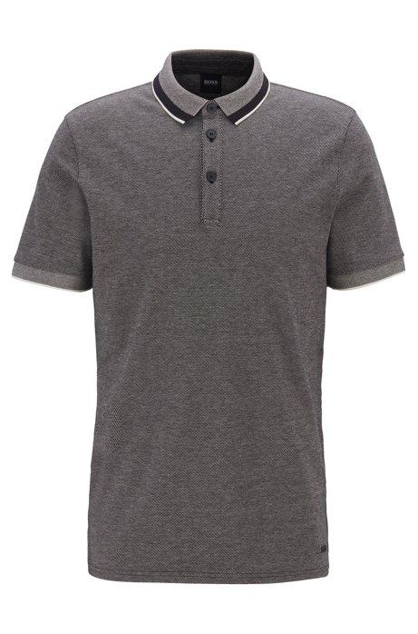 Poloshirt aus Stretch-Baumwolle mit Kragen in Mesh-Optik, Schwarz