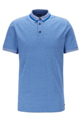 Polo shirt in stretch cotton with mesh-effect collar, Blue