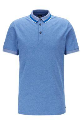 Polo en coton stretch à col effet maille, Bleu