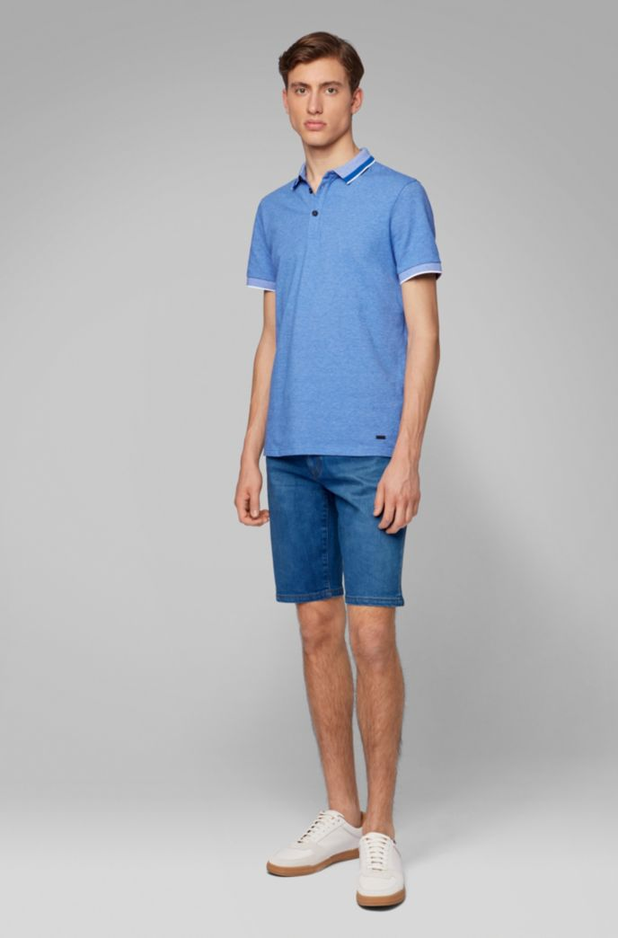 Polo shirt in stretch cotton with mesh-effect collar