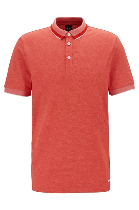 Polo shirt in stretch cotton with mesh-effect collar, Orange
