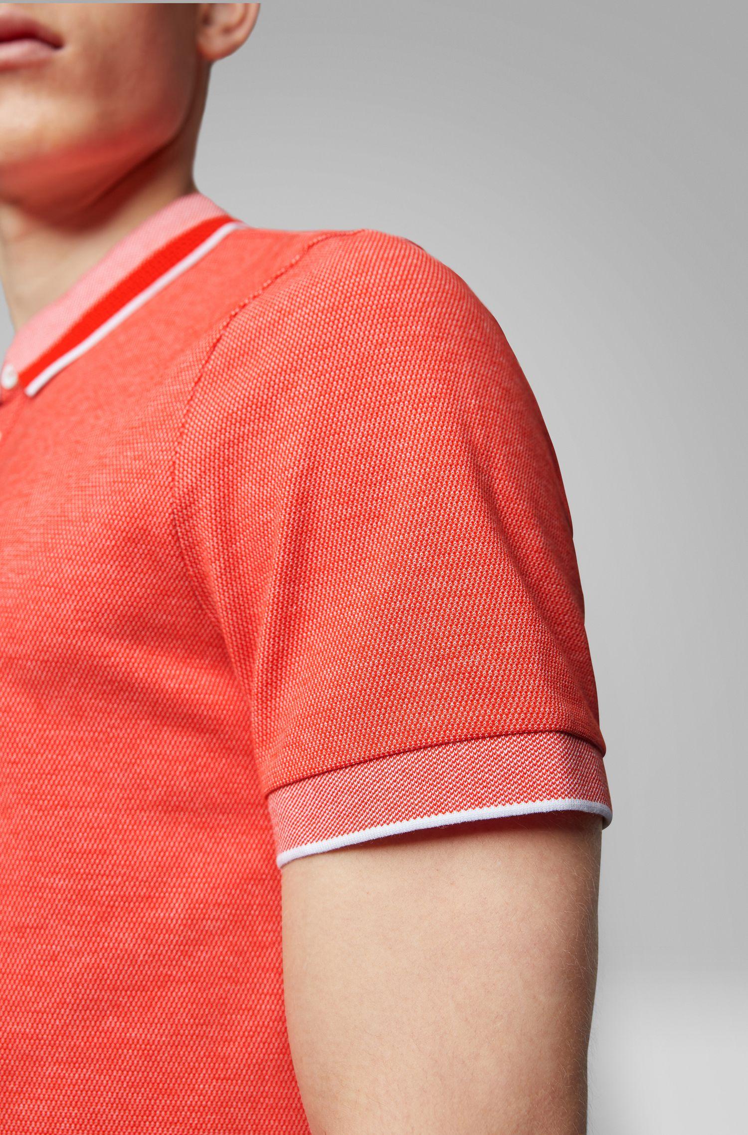 Poloshirt aus Stretch-Baumwolle mit Kragen in Mesh-Optik, Orange