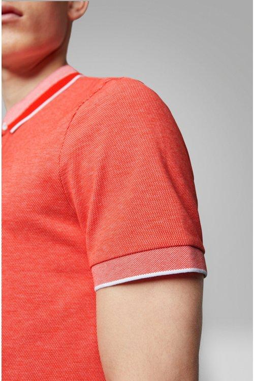Hugo Boss - Polo en algodón elástico con cuello de efecto malla - 4