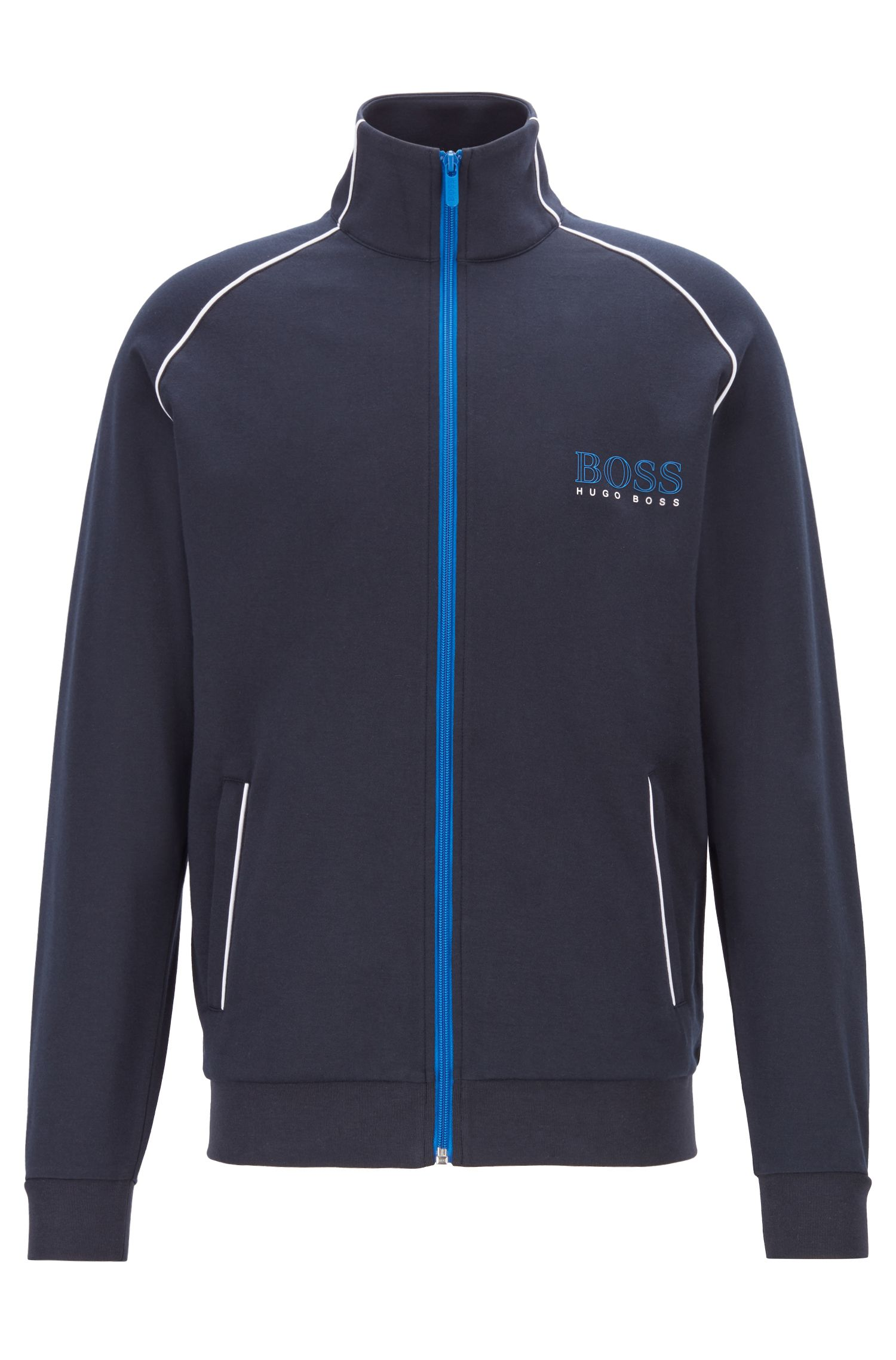 Regular-fit jacket with contrast colour piping, Dark Blue