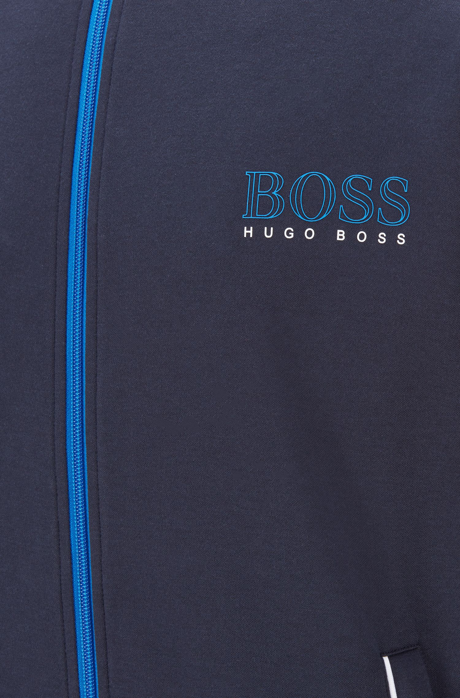 Chaqueta regular fit con ribetes de color en contraste, Azul oscuro