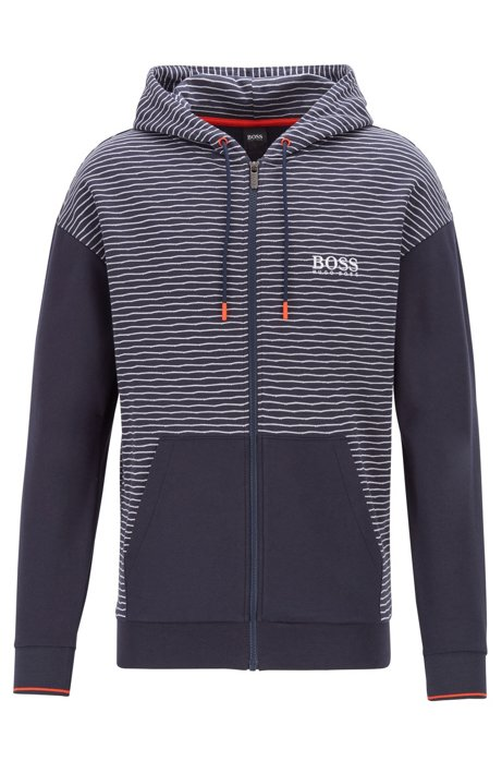Striped jacquard zip-through hoodie with Coolest Comfort finish, Dark Blue