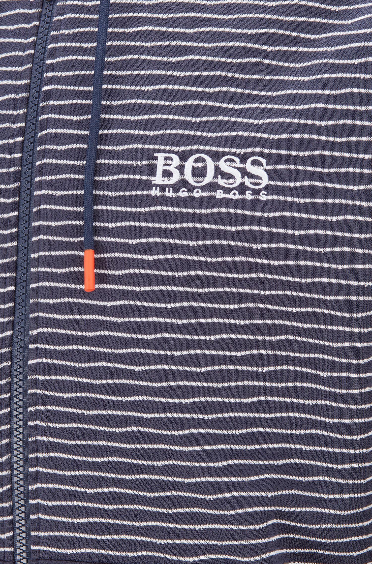 Sweat à capuche zippé en jacquard à rayures, à la finition Coolest Comfort, Bleu foncé