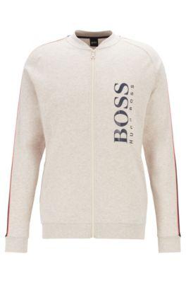 Regular-fit jacket in melange interlock cotton, Light Grey