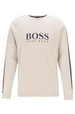 Loungesweatshirt van gemêleerde katoen met mouwinzetten, Lichtgrijs