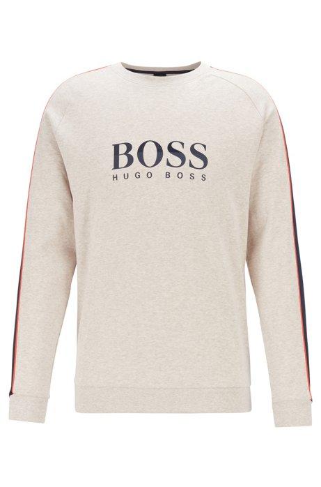 Loungewear-Sweatshirt aus melierter Baumwolle mit Einsätzen an den Ärmeln, Hellgrau