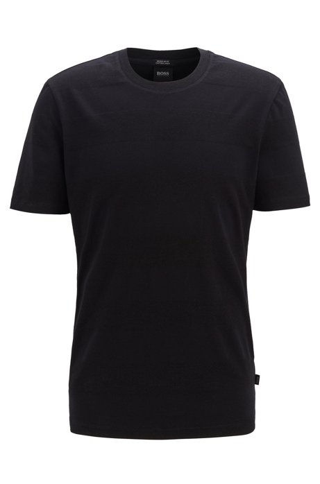 Crew-neck T-shirt in cotton and linen with stripes, Black
