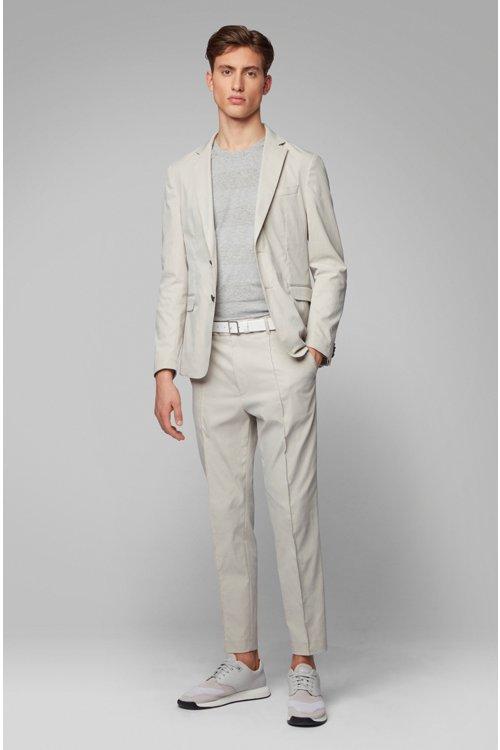 Hugo Boss - T-shirt col rond à rayures, en lin et coton - 3