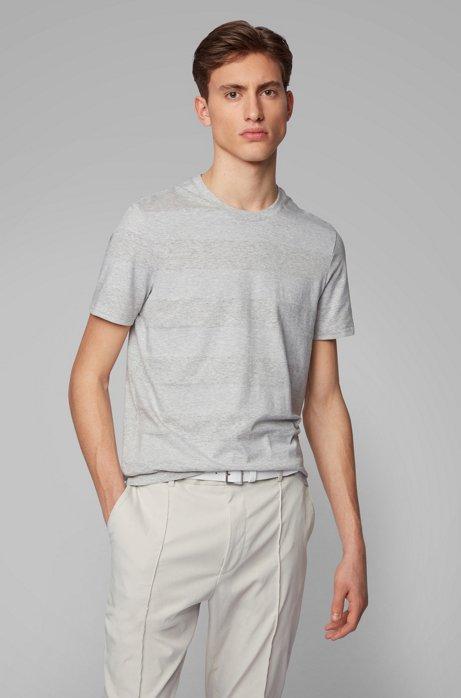 Gestreiftes T-Shirt aus Baumwolle mit Leinen und Rundhalsausschnitt, Grau