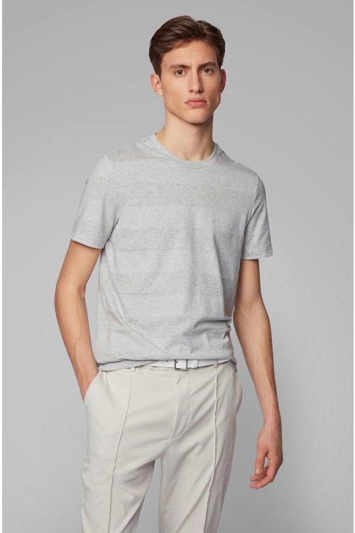 Hugo Boss - T-shirt col rond à rayures, en lin et coton - 2