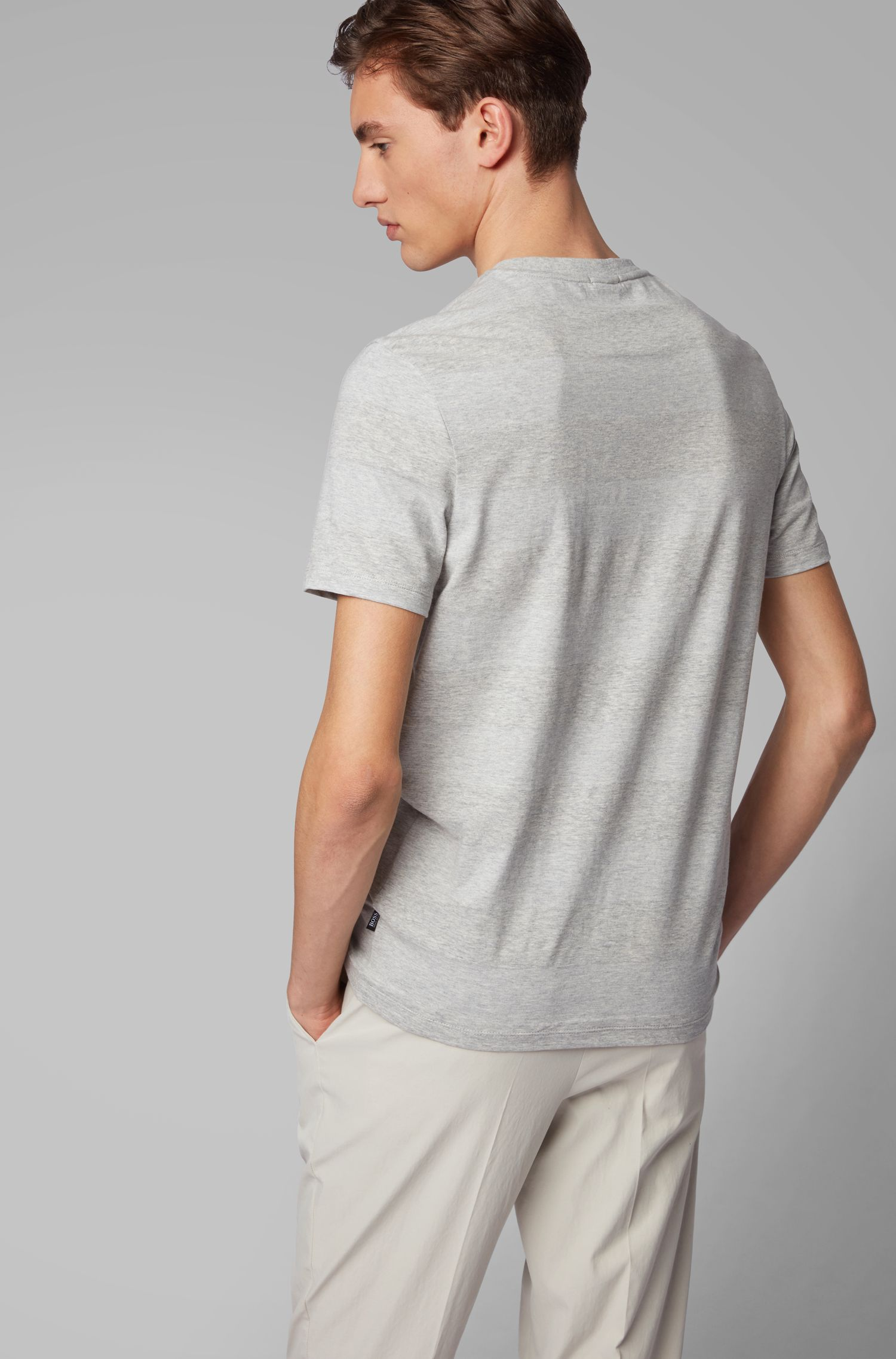 Crew-neck T-shirt in cotton and linen with stripes, Grey