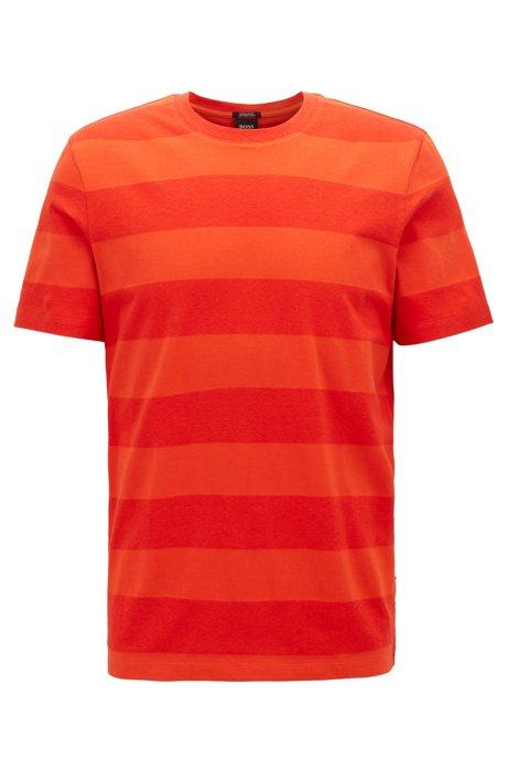 Gestreiftes T-Shirt aus Baumwolle mit Leinen und Rundhalsausschnitt, Orange