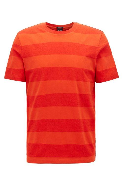 Hugo Boss - Camiseta de cuello redondo a rayas en algodón y lino - 1