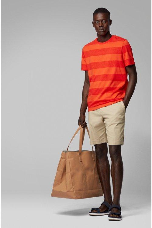 Hugo Boss - Camiseta de cuello redondo a rayas en algodón y lino - 3