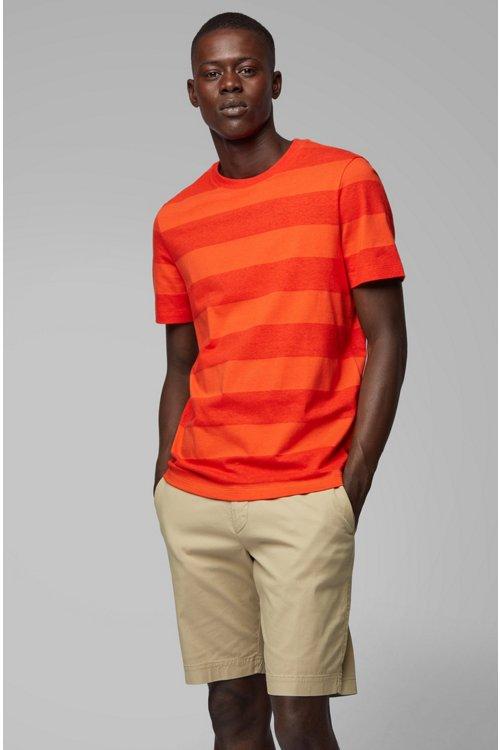 Hugo Boss - Camiseta de cuello redondo a rayas en algodón y lino - 2