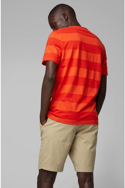 Hugo Boss - Camiseta de cuello redondo a rayas en algodón y lino - 4