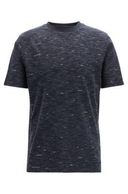 T-shirt met ronde hals met kunstzinnig bedrukte tekst, Donkerblauw