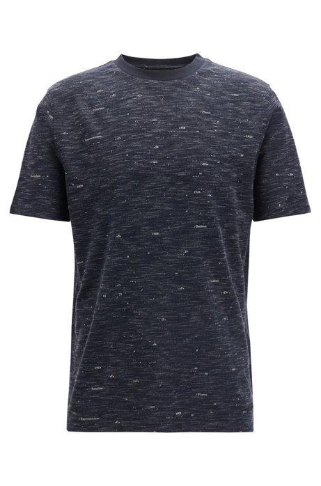 T-Shirt mit Rundhalsausschnitt und gedruckten Kunst-Schriftzügen, Dunkelblau